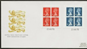 23/8/1988 56p + 76p NEW VALUE WINDOW BOOKLETS ON ONE  FDC