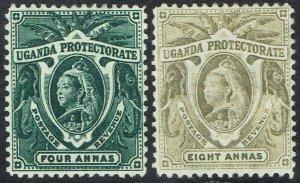 UGANDA 1898 QV ELEPHANTS 4A AND 8A
