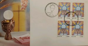 A) 1985, BRAZIL, 11TH NATIONAL EICHARISTIC CONGRESS, APPEARED, FIRST DAY COVER