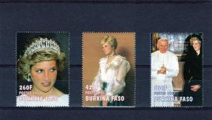 Burkina-Faso 97 Pope John-Paul II/Diana set (3) Sc 1125U-27