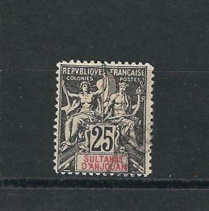 Anjouan 10 Y&T 8 25c Black on rose Used F/VF 1892 SCV $14.00