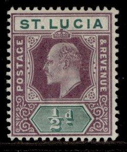 ST. LUCIA EDVII SG58, ½d dull purple & green, M MINT.