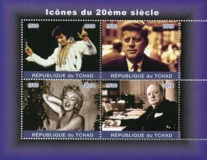 Chad Stamps 2018 MNH Elvis Presley Marilyn Monroe Churchill JFK Kennedy 4v M/S