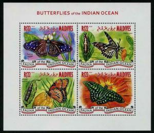 HERRICKSTAMP MALDIVES Sc.# 3149 Butterflies Sheetlet
