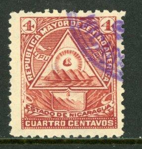 Nicaragua 1896 Seebeck 4¢ Coat of Arms Wmk VFU B876   ⭐⭐⭐⭐⭐⭐