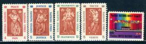 United Nations N.Y.; 1967: Sc. # 170-174: **/MNH Cpl. Set
