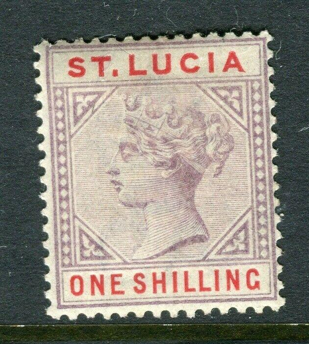 ST.LUCIA; 1880s early QV Crown CA issue Mint hinged 1s. value, Shade