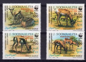 Somalia MNH 629-32 Gazelles Fauna WWF Overprint 1992