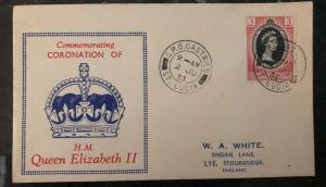 1953 Castries St Lucia QE 2 Coronation First Day Cover Queen Elizabeth FDC To UK