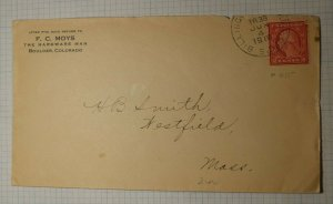 US Sc# 455 Coil Used On Cover 1916 Billings RPO TR30 Cancel Moys Hardware CO