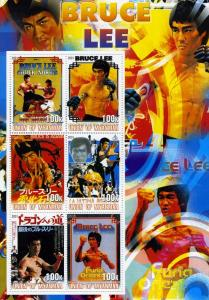 Union of Myanmar 2001 Bruce Lee Sheet (6) Perforated mnh.vf