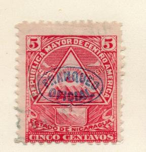 Nicaragua 1898 Early Issue Fine Used 5c. Official Optd 323804