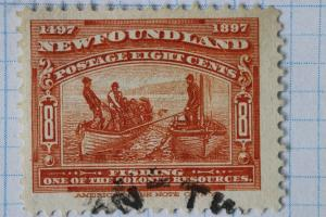 Newfoundland sc#67 8c 1897 used light cancel jumbo margins  extra fine