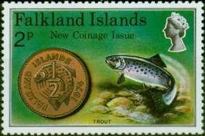 Falkland Islands 1975 2p New Coinage SG316w Wmk Crown to Right of CA V.F MNH