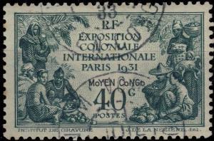 MOYEN-CONGO - 1933 - CACHET À DATE DE M'VOU SUR Yv. N°53