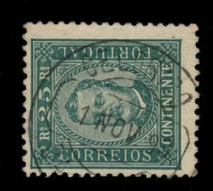 PORTUGAL 1892 Mi.70yA 25R GREEN CHALK PAPER CANCELED CELORICO / DA BEIRA