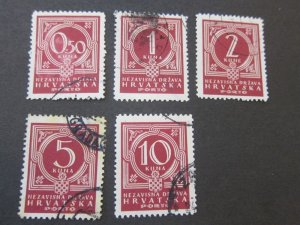 Croatia 1941 Sc J6-10 set FU
