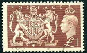 1951 Festival High Values £1 Brown Sg 512 FINE to VERY FINE USED V83939