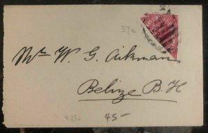 1800s  British Honduras Wrapper cover Rare BI Sec Stamp To Belize BH