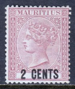MAURITIUS — SCOTT 50 (SG 83) — 1878 2c QV SURCHARGE — MNG — SCV $14.00