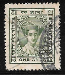India Indore 17: 1a Maharaja Yeshwant Rao II, used, VF