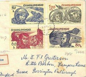 Czechoslovakia Cover AVIATION SPACE EXPLORATION 1964 Low Values {samwells}BU110