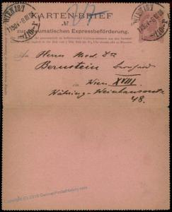 Austria Empire 1896 Rohrpost Pneumatic Mail Postal Stationery Kartenbrief  66984