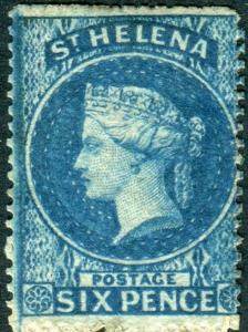 ST HELENA-1861 6d Blue  A mounted mint example Sg 2a