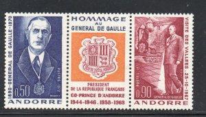 Andorra (Fr) Sc 218a 1972 De Gaulle stamp set  mint NH