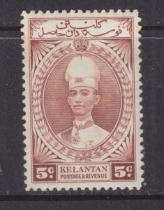 KELANTAN, 1937 Sultan Ismail, 5c. Red Brown, lhm.