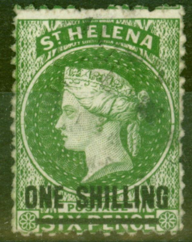 St Helena 1868 1s Green SG18 Type B Fine Used