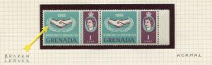 Grenada - Scott 207 - ICY - Broken Leaves-1965 - MNH - Joined Pair 1c Stamps