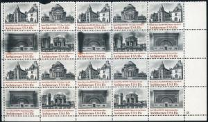 #1928-1931 VAR. ARCHITECTURE INK SMEAR AFFECTING 7 STAMPS BN8976