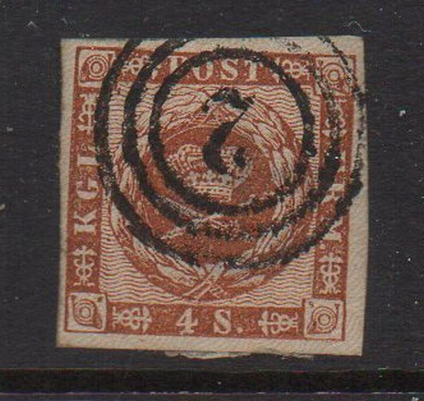 Denmark Sc 7a 1858 4s brown Royal Emblems stamp used