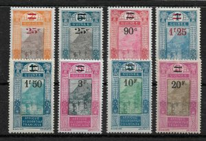 French Guinea 1924-27,Surcharged, 8 stamps,Sc # 106//115,VF Mint Hinged* (FR-1)
