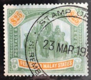 Malaya Federated Malay States FMS 1909 $25 Used wmk MCCA SG#51 M2904