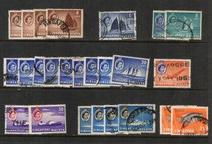Singapore 1955 QEII 25 Used Stamps With Duplication