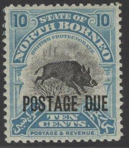 NORTH BORNEO SGD72 1926 10c BLACK & TURQUOISE-BLUE p12½ MTD MINT