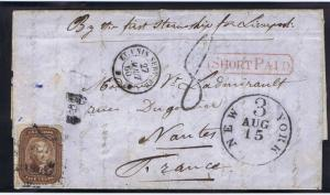 SCOTT# 29 ON COVER SHORT PAID CANCEL STEAMSHIP NEW ORLEANS LA TO FRANCE, 1860