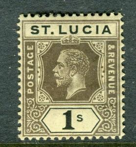 ST.LUCIA; 1912 early GV issue fine Mint hinged Shade of 1s. value