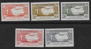 FRENCH SUDAN SC# C1-5  FVF/MOG  1940