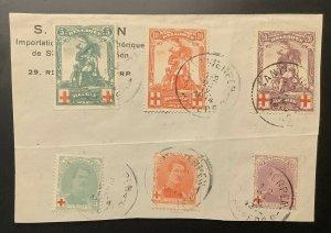 Belgium #B25-7, B28-30, Semi Postal Sets, Used On Piece, VF, Scott $106.50