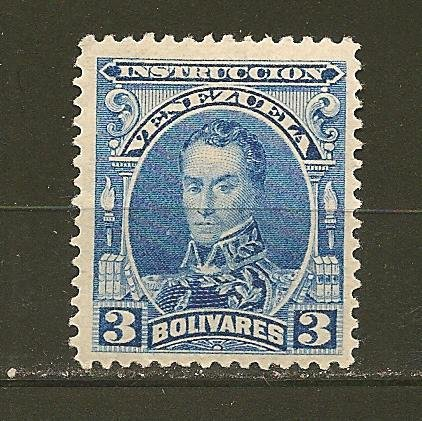 Venezuela Simon Bolivar 1880's Instruccion Revenue Stamp 3 Bolavare Mint Hinged