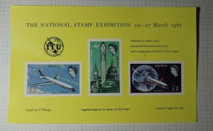 GB London Stamp Expo ITU AirMail 1965 Philatelic design suggestion s/s Label