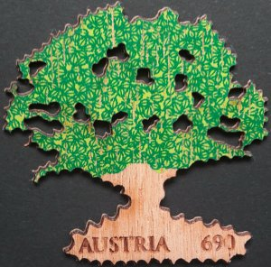 2016 Austria First Oak Wood Stamp, VF/MNH, Marke aus Holz, beautiful LOOK!