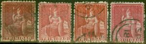 Trinidad 1869 set of 4 Shades SG69, 69b, 69c & 69d Fine Used