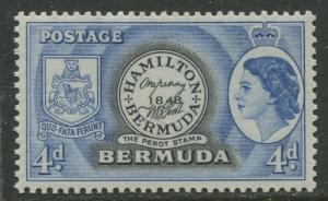Bermuda - Scott 150 - QEII Definitive -1953 - MLH - Single - 4p Stamp