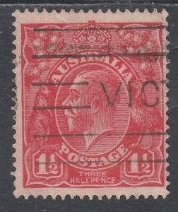 AUSTRALIA 1924 KGV 11/2D HALE PENCE VARIETY SINGLE WMK USED