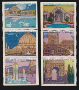 US 1915 Pan Pacific Expo Poster Stamps 2 Strips of 3 Mint NH