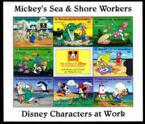 ST VINCENT - 1996 - DISNEY - MICKEY - SEA & SHORE WORKERS - MINT - MNH SHEET!